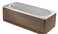 Linear bath panels in natural walnut