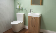 Eurostyle en-suite vanity wash stand 250mm deep in light walnut