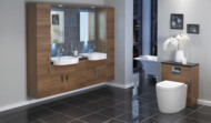 Linear range of fitted furniture in natural walnut